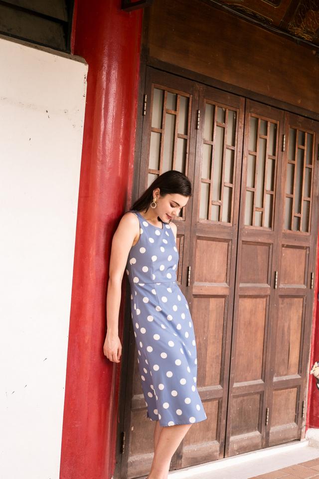 Parisa Polka Dot Midi Dress in Blue (XS)