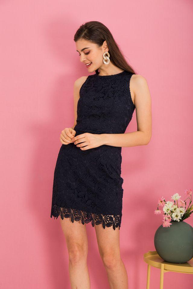 Olier Crochet Sheath Dress in Navy