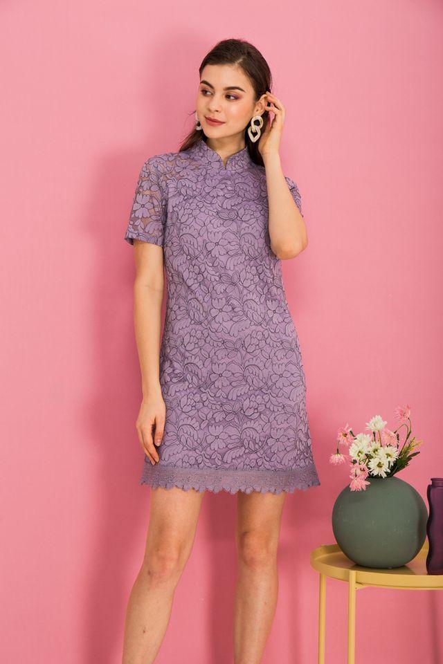 Grieta Floral Lace Shift Dress in Lavender