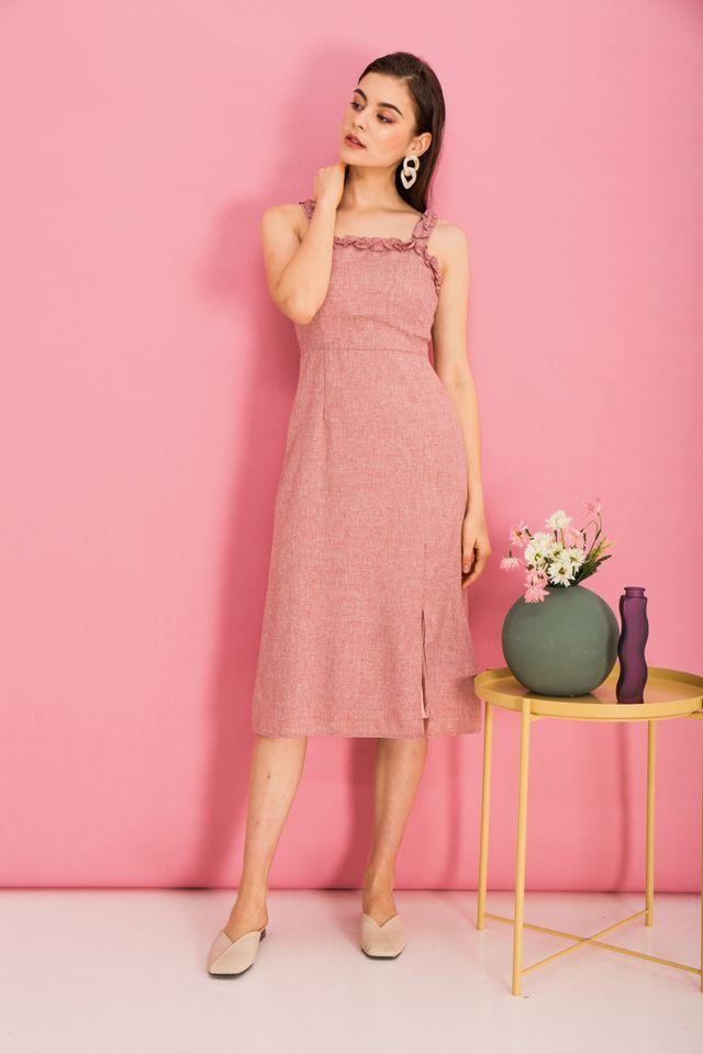 Yana Ruffles Slit Midi Dress in Rose