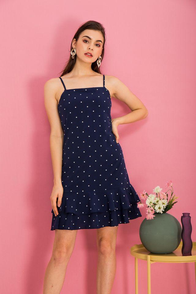 Merie Polka Dot Dropwaist Dress in Navy