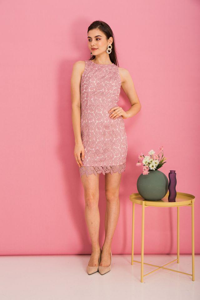 Olier Crochet Sheath Dress in Pink (XS)