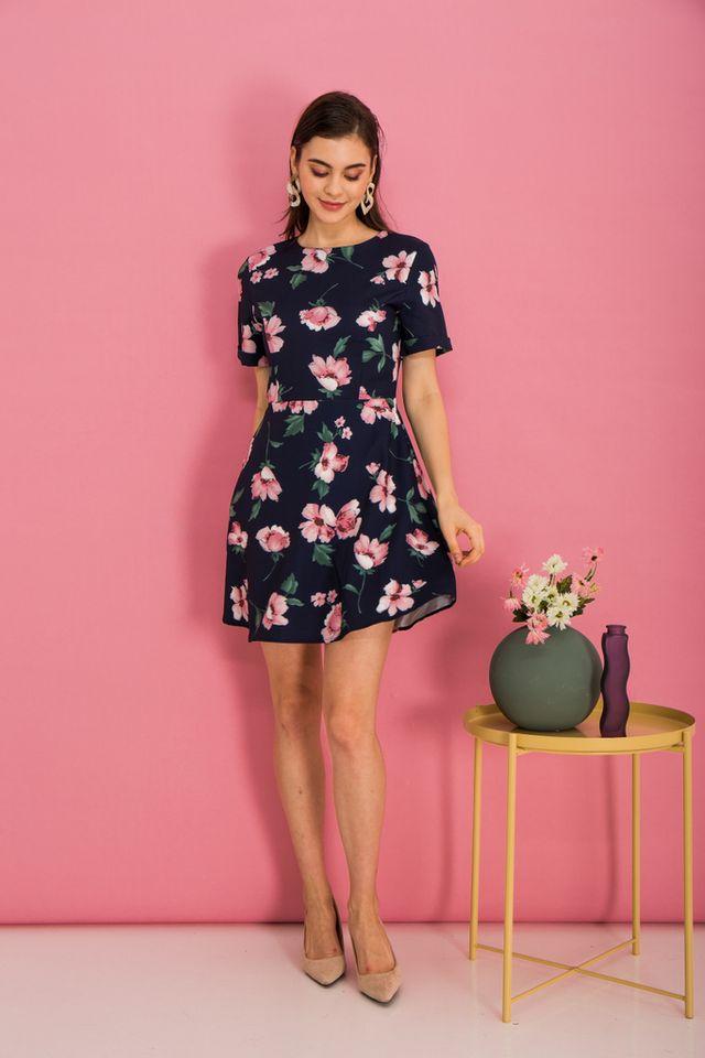Megyn Floral Folded Sleeve Dress in Navy (XS)