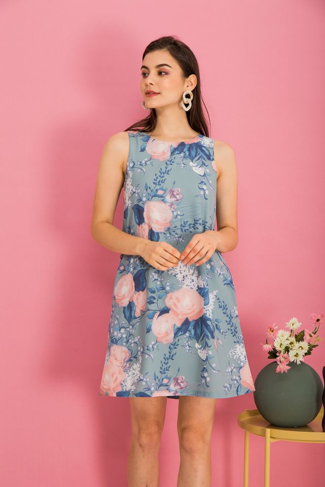 Bethanne Floral Trapeze Dress in Sage