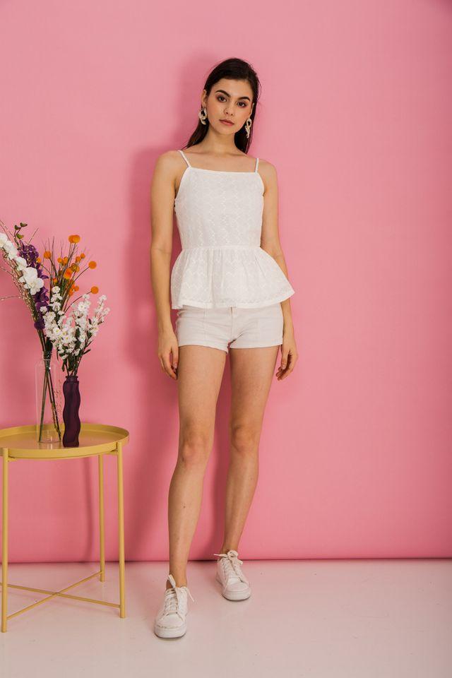 Ivette Eyelet Babydoll Top in White (XL)
