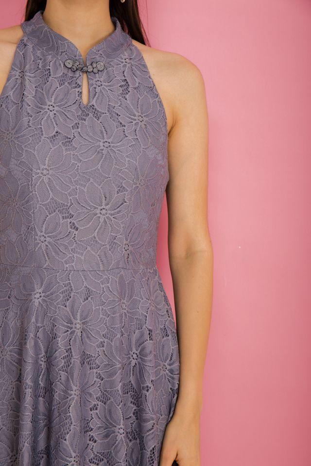 Harriet Lace Skater Dress in Grey