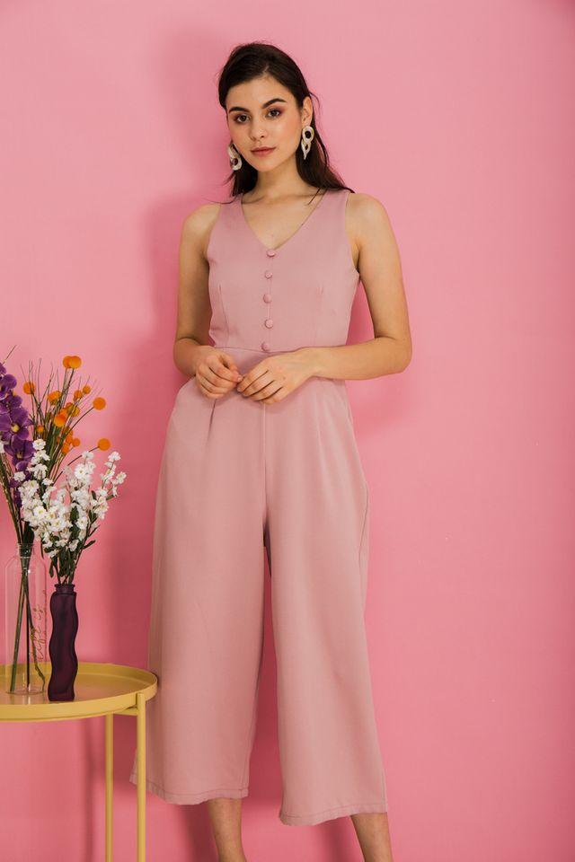 Mirra Basic Button Jumpsuit in Pink