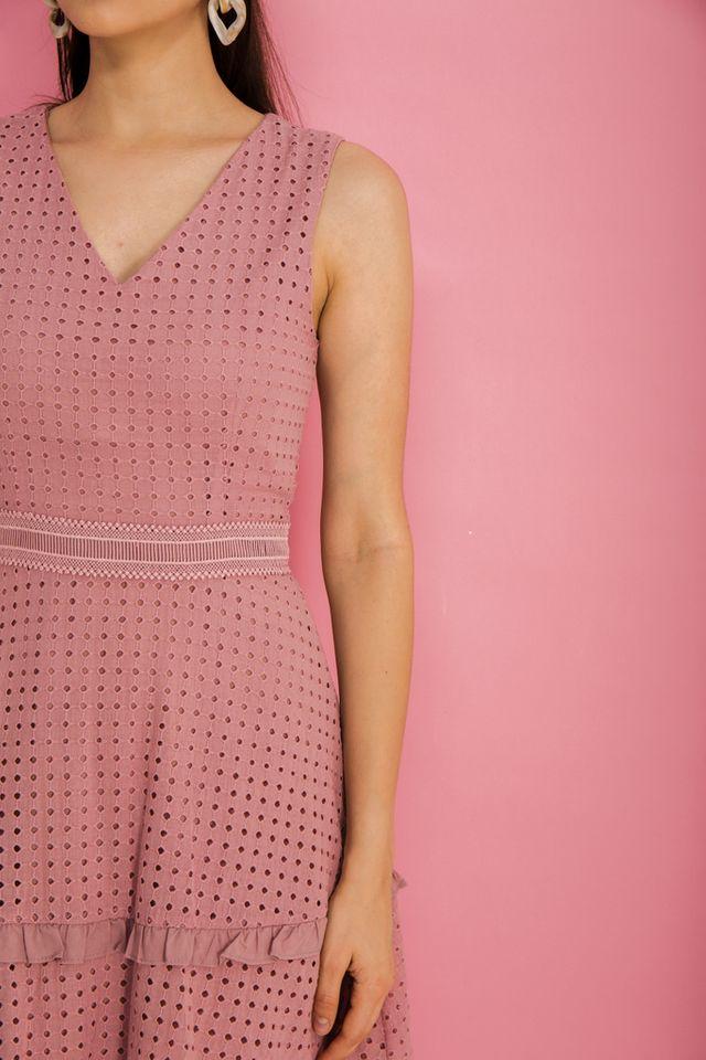 Millay Eyelet Skater Dress in Dusty Pink (XS)