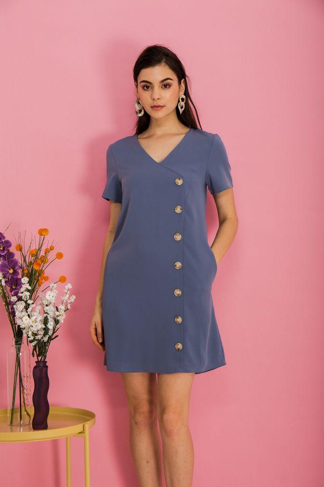 Castiel Button Down Shift Dress in Steel Blue (S)
