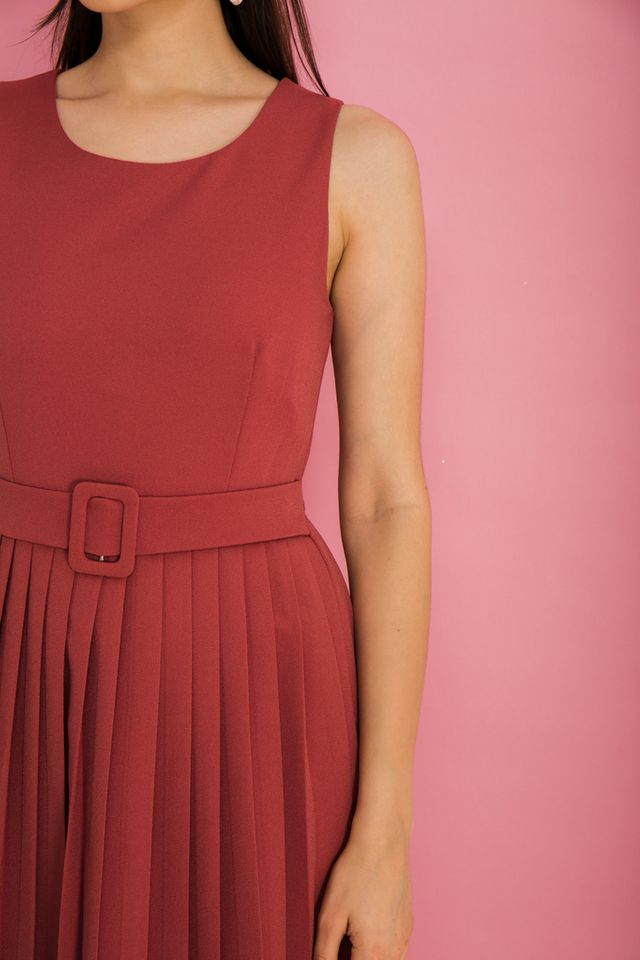 Meryl Belted Midi Dress in Rouge