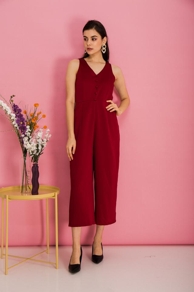 Mirra Basic Button Jumpsuit in Red (XL)