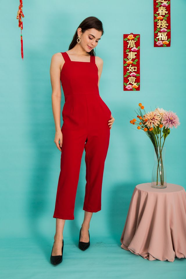 Alexina Basic Maxi Jumpsuit in Red (M)
