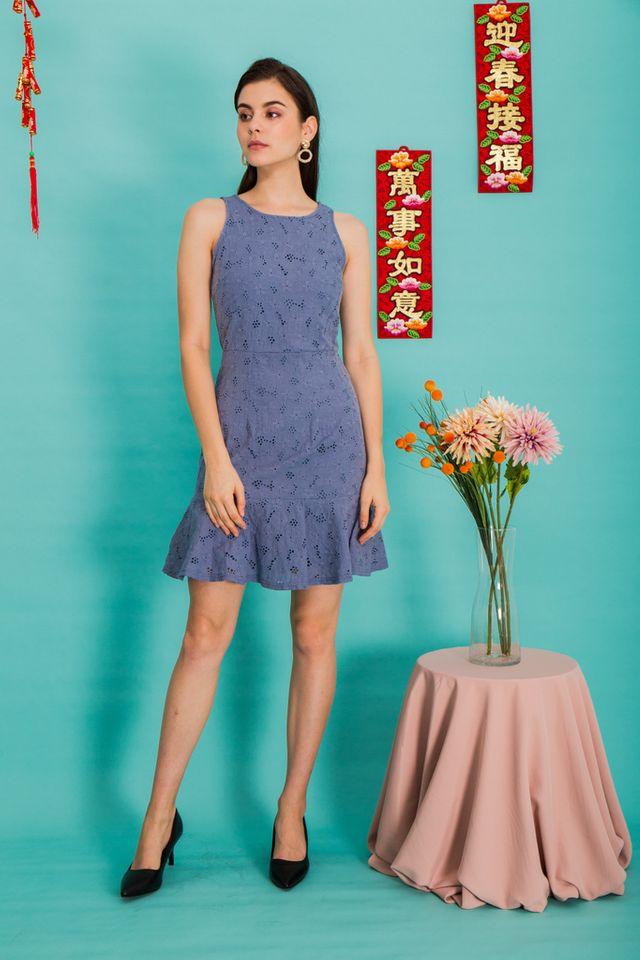 Gianna Floral Eyelet Dress in Steel Blue (XS)