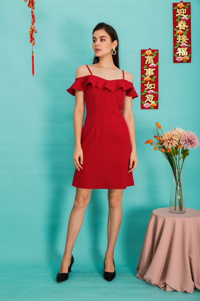 Addison Cold Shoulder Sheath Dress in Red (XS)