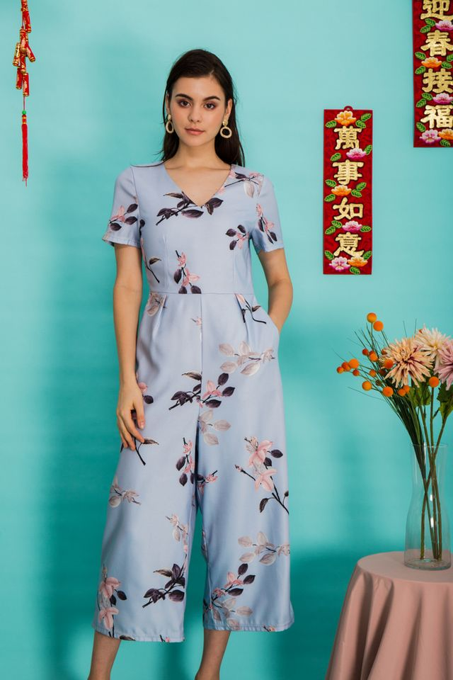 Issoria Floral Wide Leg Jumpsuit in Baby Blue (XS)