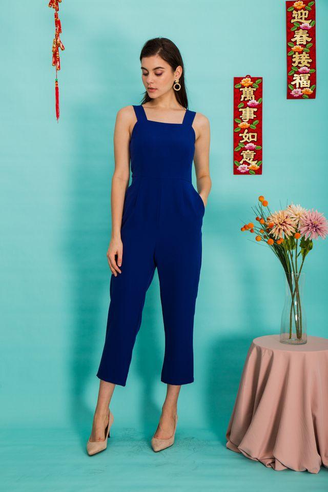 Alexina Basic Maxi Jumpsuit in Cobalt Blue (L)
