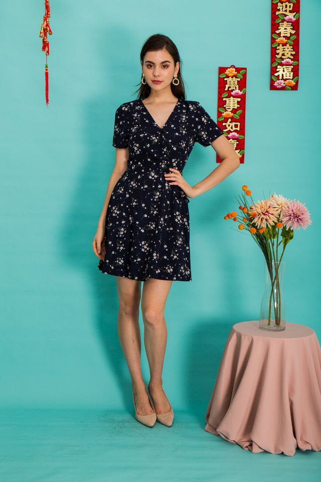 Valentia Floral Skater Dress in Navy