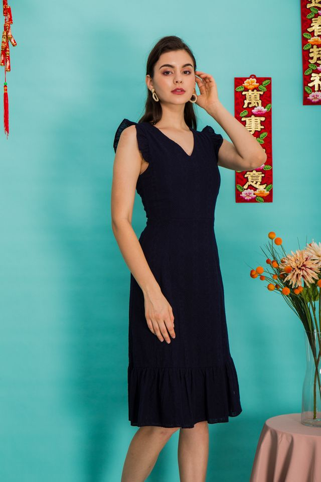 Jayce Embroidered Midi Dress in Navy (XS)