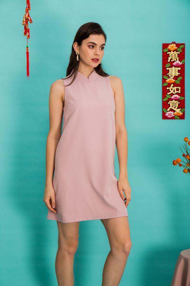 Breena Mandarin Collar Trapeze Dress in Dusty Pink (XS)