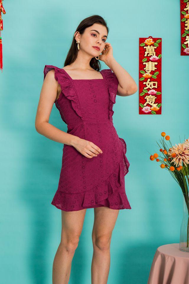 Darina Eyelet Ruffles Dress in Magenta (XS)