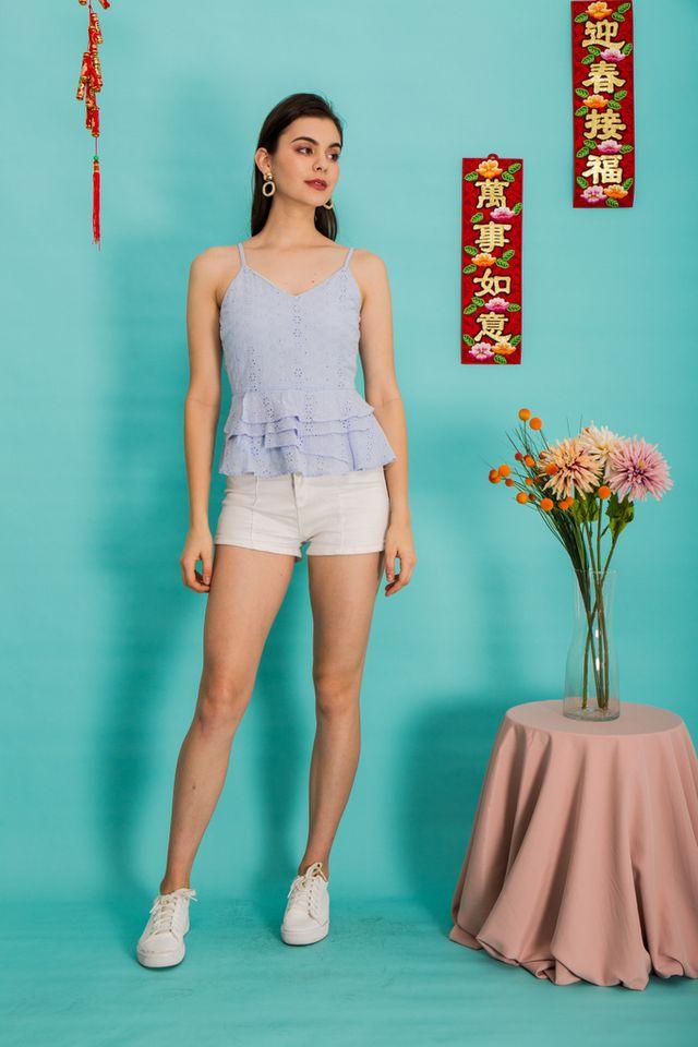 Ailana Eyelet Babydoll Top in Periwinkle (XL)