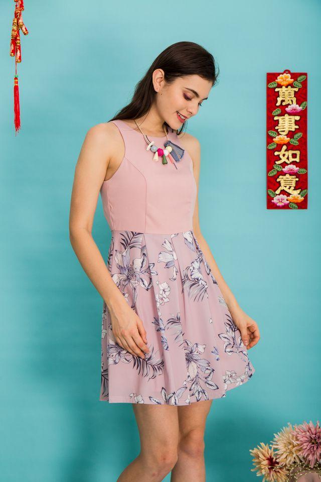 Harriel Floral Sheath Dress in Dusty Pink (XS)