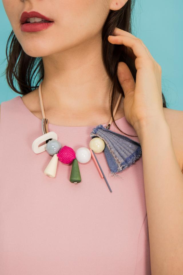 Anice Fabric & Bead Necklace in Cream