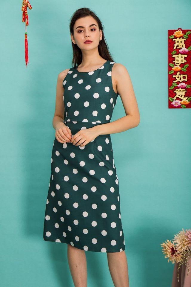 Parisa Polka Dot Midi Dress in Forest (XS)