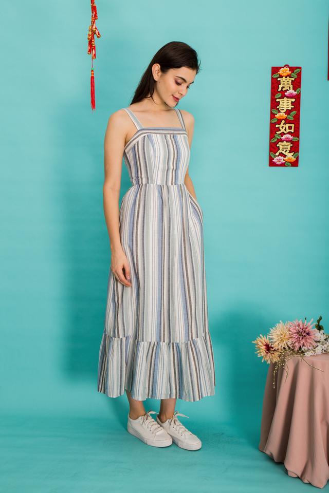 Charlize Pinstripe Maxi Dress in Blue