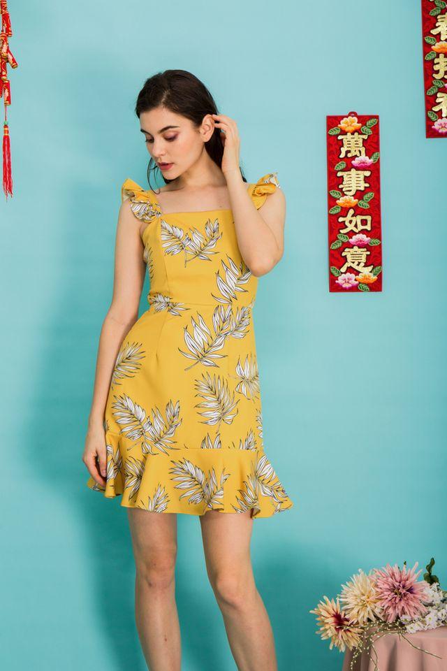 Zaira Tropical Ruffles Dress in Yellow (L)