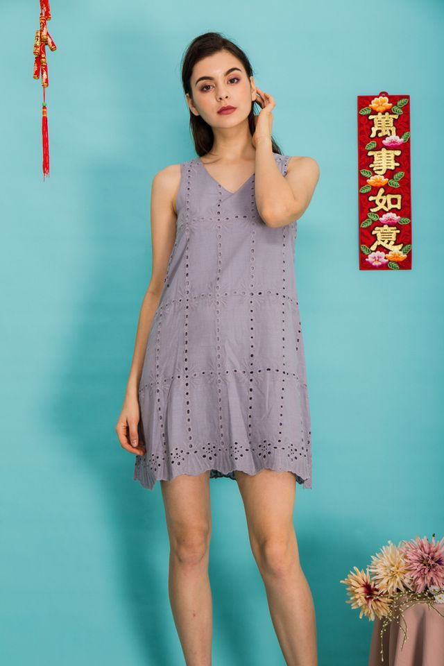 Jayde Eyelet Trapeze Dress in Grey (XL)