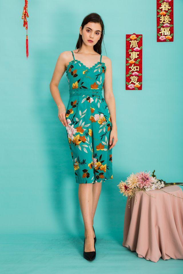 Jalen Lace Floral Jumpsuit in Bright Jade