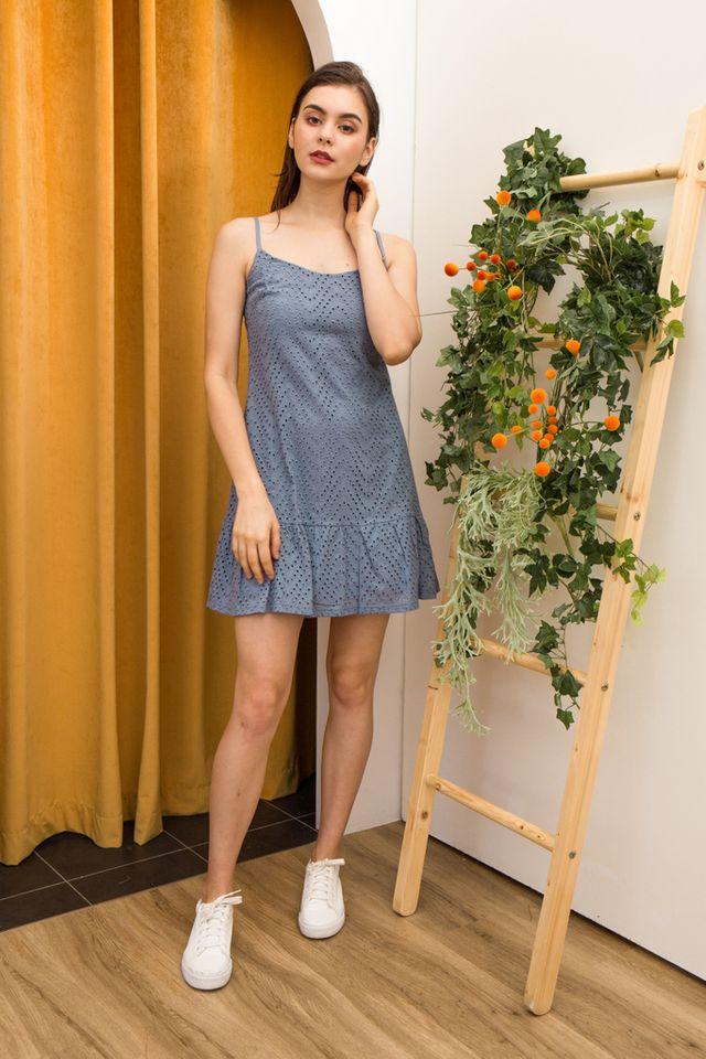 Celina Eyelet Dropwaist Dress in Blue (L)