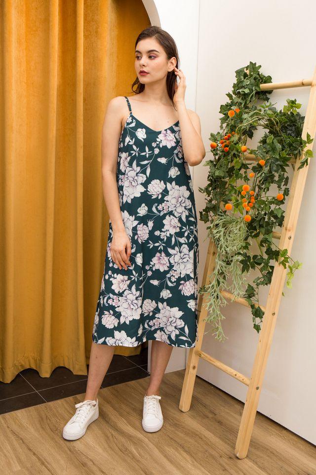 Arista Floral Slip Dress in Teal (XS)