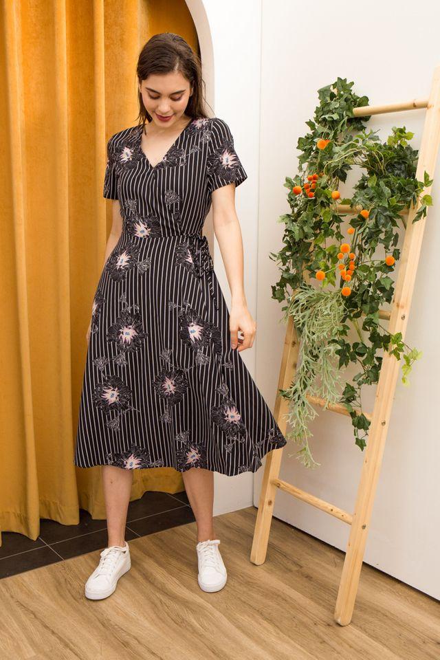 Camdyn Floral Striped Dress in Black