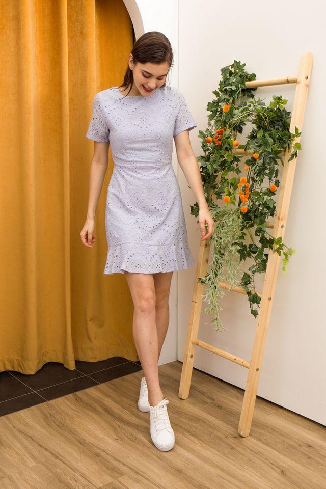 Nelia Eyelet Ruffles Dress in Periwinkle (XS)