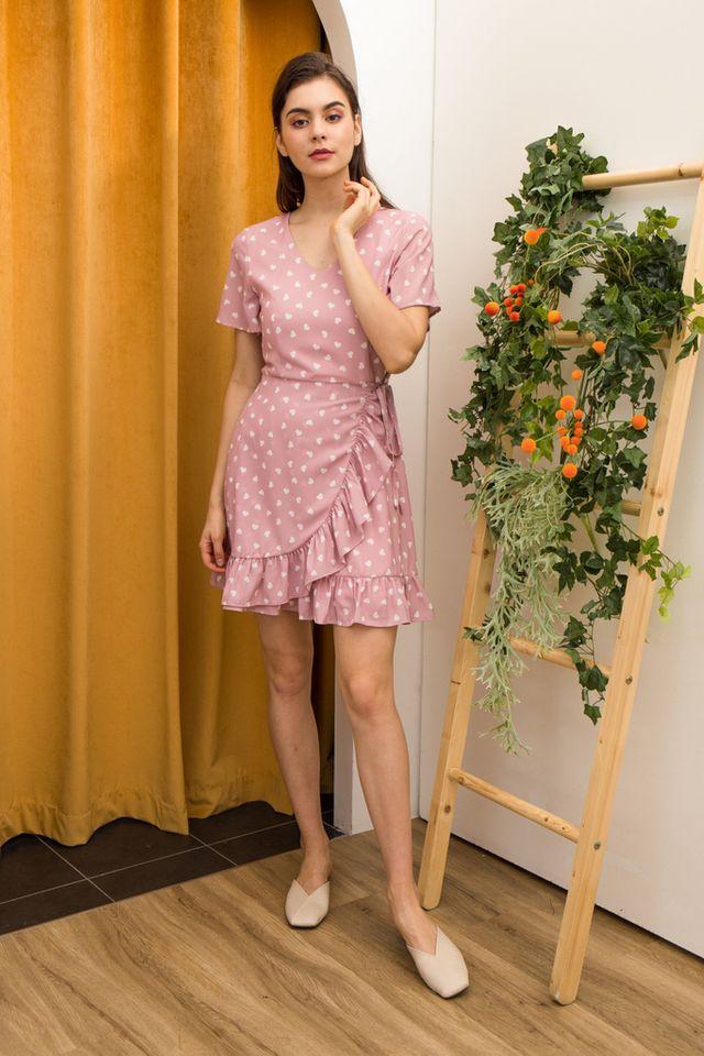 Ellis Heart Ruffles Dress in Pink