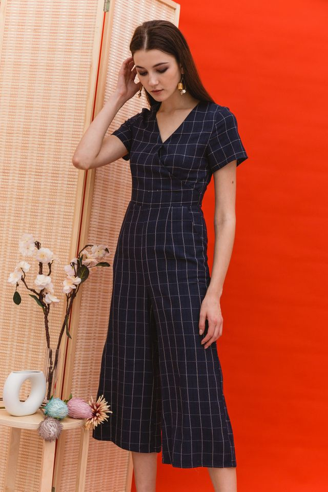 Tanith Plaid Faux Wrap Jumpsuit in Navy (XS)
