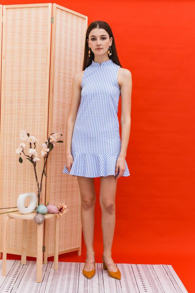 Adema Gingham Cheongsam Dress in Blue (XS)