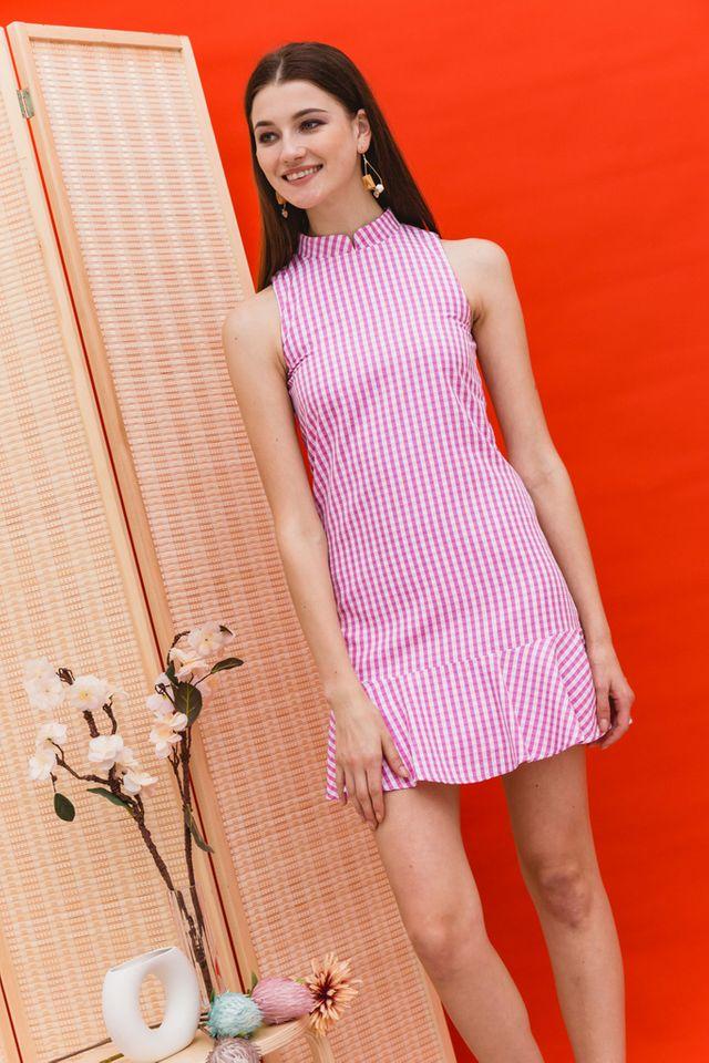 Adema Gingham Cheongsam Dress in Pink (XS)