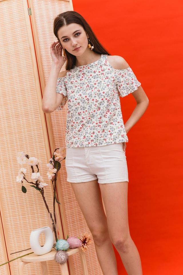 Lissa Floral Cold Shoulder Top in Cream (L)