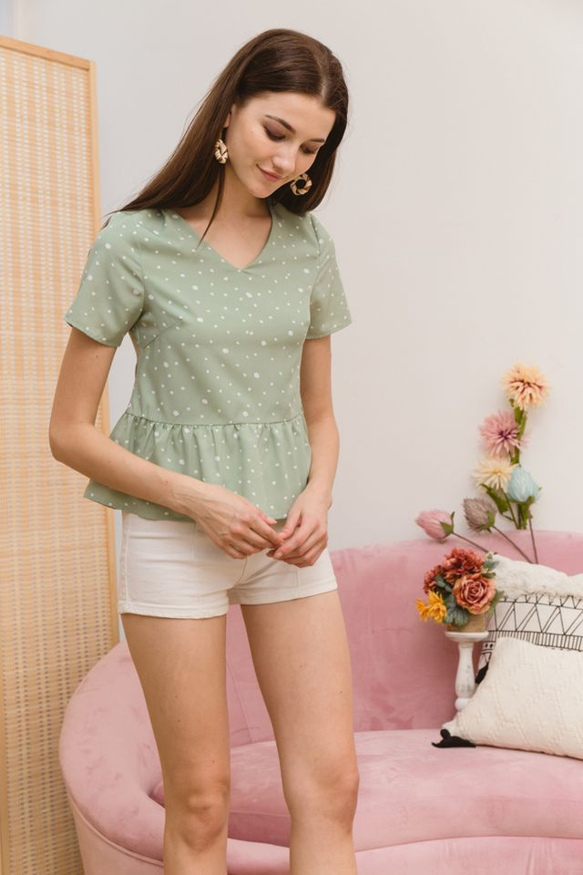 Alcie Dotted Babydoll Top in Mint