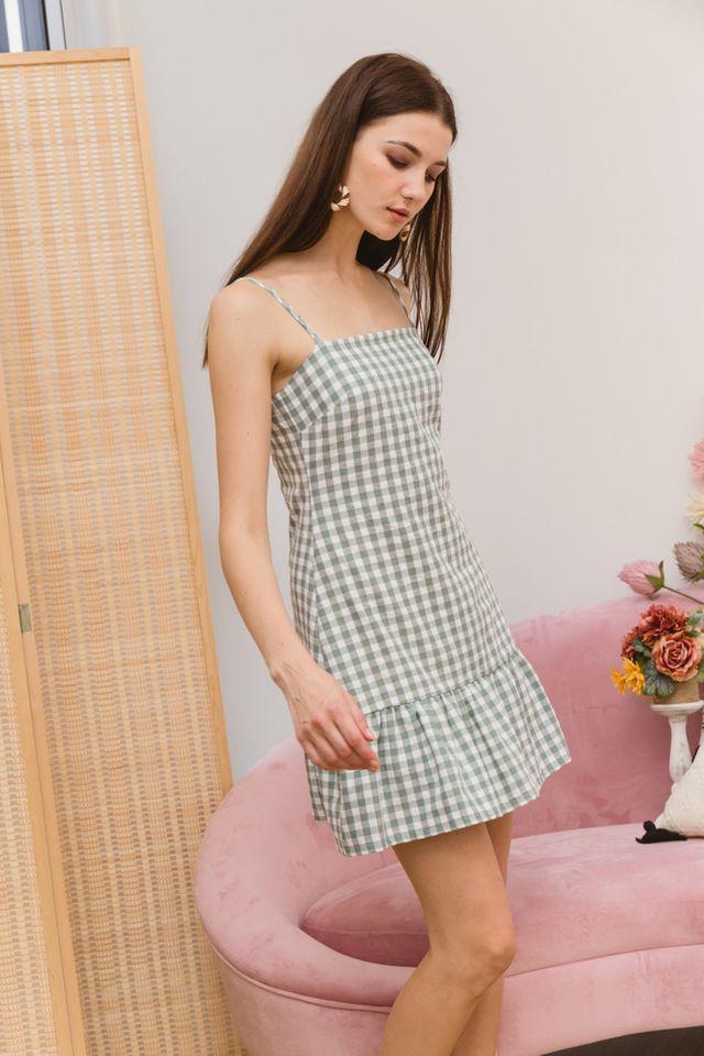 Maryann Gingham Ruffles Dress in Green