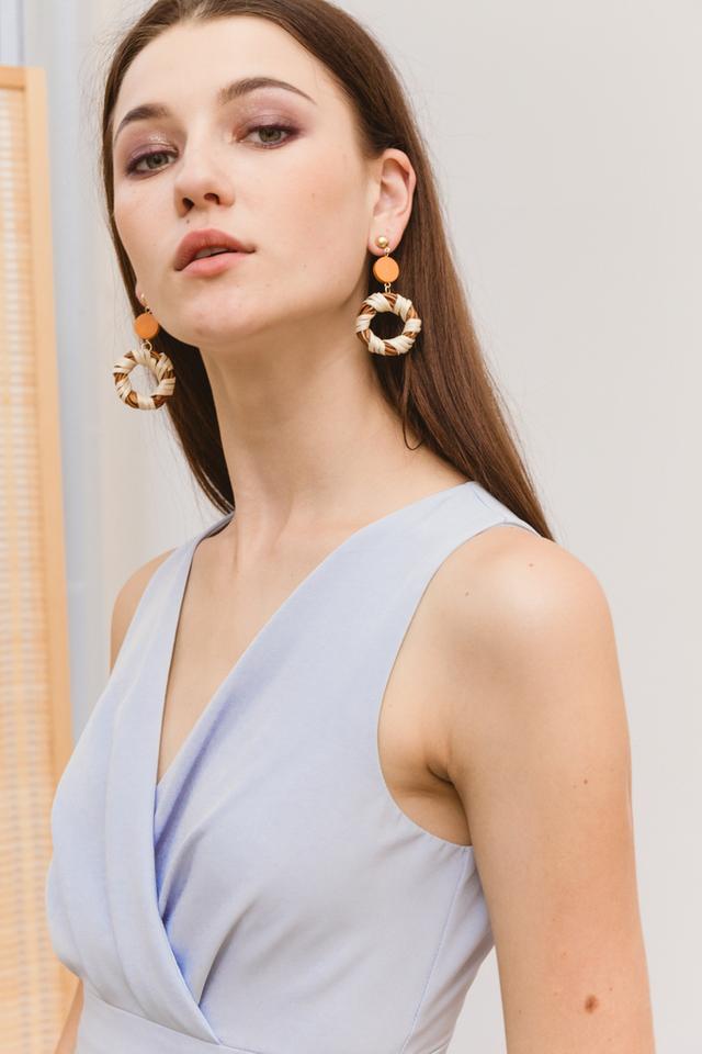 Maida Straw Earrings in Brown