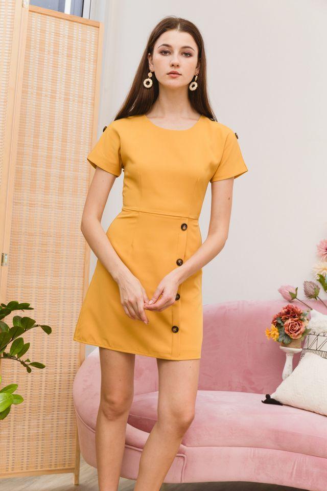 Pavana Buttoned Sleeve Dress in Mustard