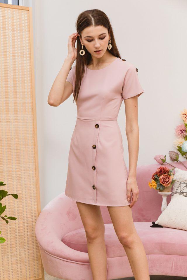 Pavana Buttoned Sleeve Dress in Dusty Pink (XS)