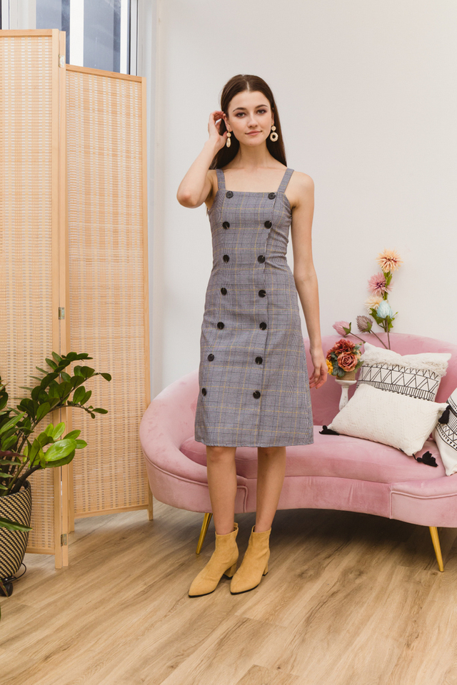 Christia Houndstooth Pinafore Dress in Black