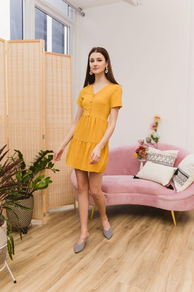 Tarquin Double Tiered Hem Dress in Mustard