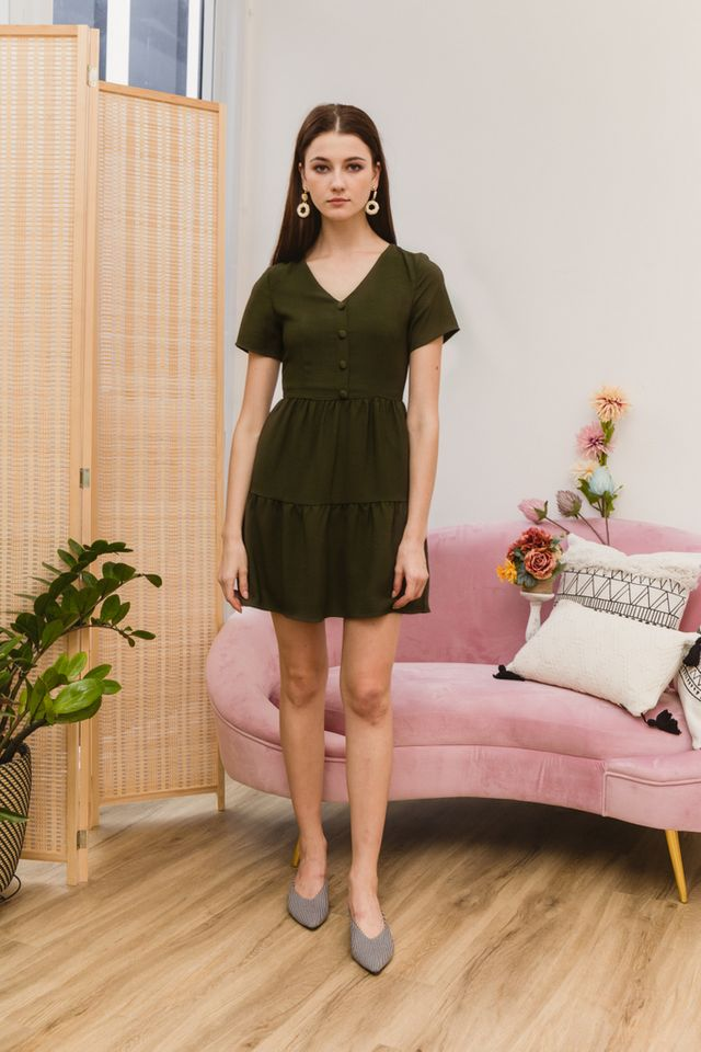 Tarquin Double Tiered Hem Dress in Olive