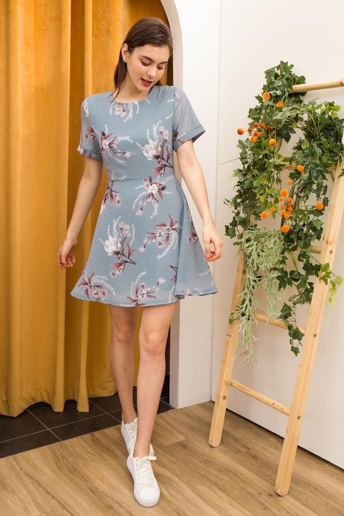 aaf6e3876b8 Lucinda Floral Skater Dress in Light Blue
